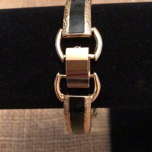 Jewelry - Two Classic Black & Gold Tone Bracelets